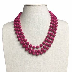 Vintage Pink Multi-strand Beaded Necklace